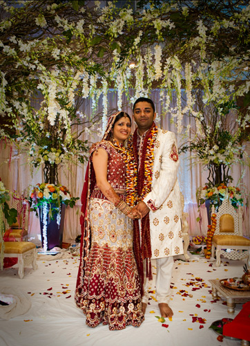 Indian bride and groom, happy couple, cultural wedding theme