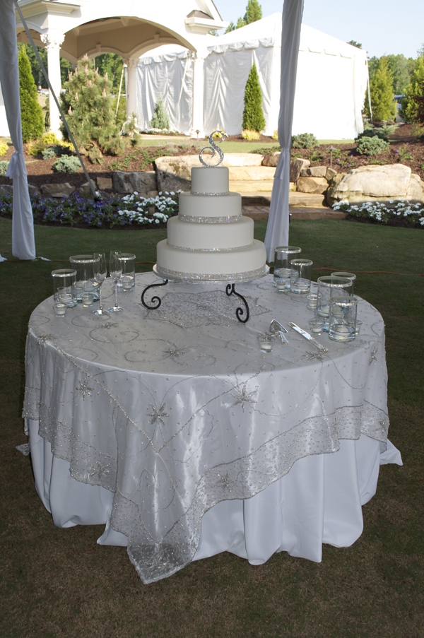 multi-tier cake, crystal cake topper